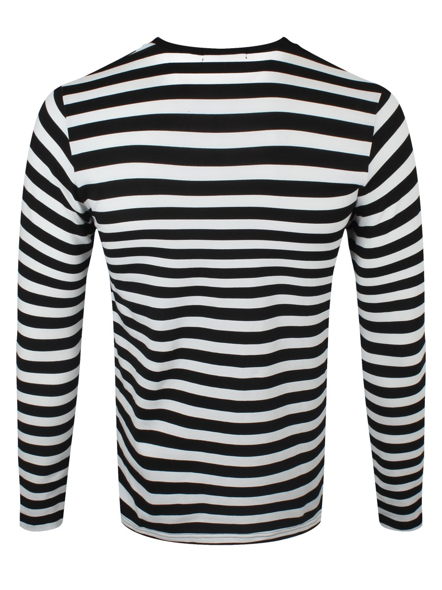 Striped Black And White Long Sleeved T Shirt
