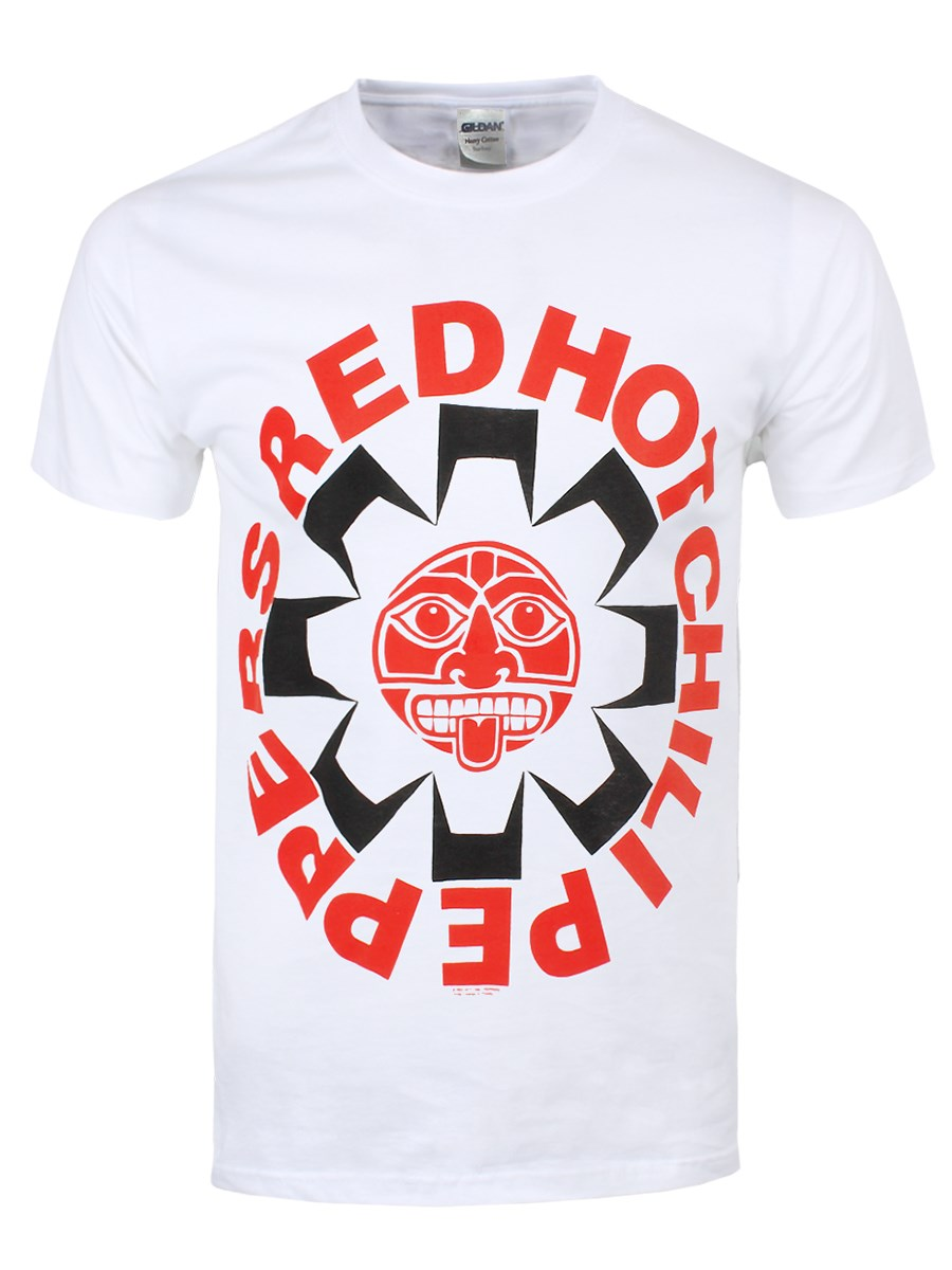Red hot chili peppers aztec men 39 s white rhcp t shirt ebay for Chip and pepper t shirts