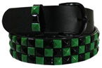 Black and Green 3 Row Pyramid Belt
