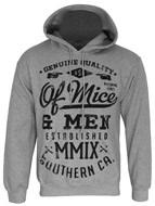 Of Mice &Men Text Men's Heather Grey Pullover Hoodie