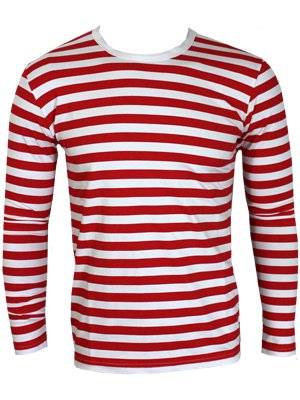 striped red and white long sleeved t shirt buy online at. Black Bedroom Furniture Sets. Home Design Ideas