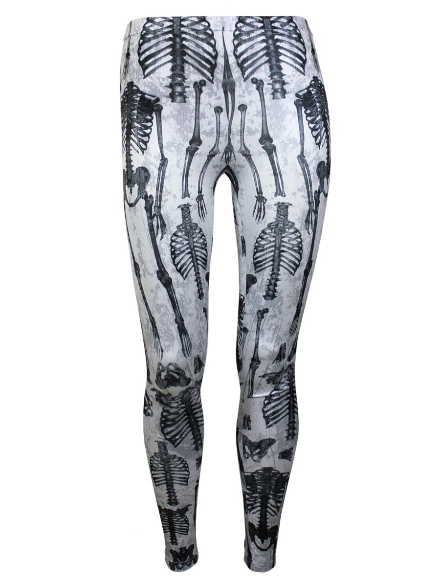 Banned Human Skeleton White Leggings