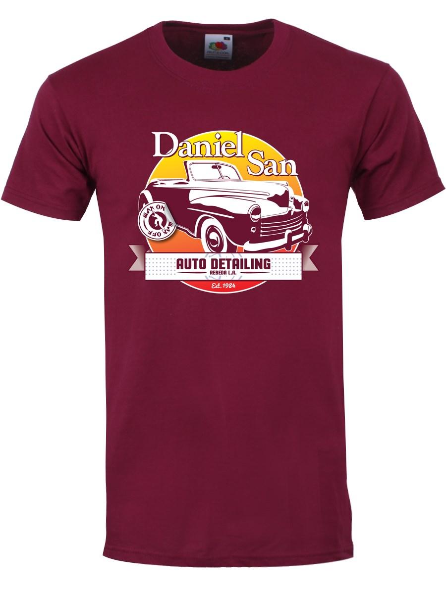daniel san auto detailing mens burgundy tshirt inspired