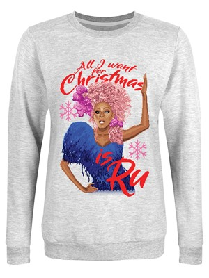All I Want For Christmas Is Ru Ladies Grey Christmas Jumper