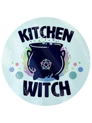 Kitchen Witch Circular Glass Chopping Board