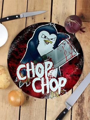 Psycho Penguin Chop Chop Glass Chopping Board