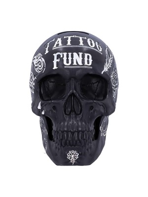 Black and White Traditional Tribal Tattoo Fund Skull