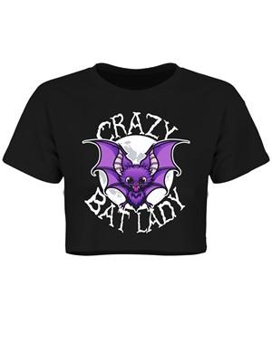 Crazy Bat Lady Black Boxy Crop Top