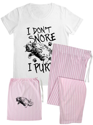 I Don''t Snore I Purr Ladies Long Candy Stripe Pyjama Set In A Bag