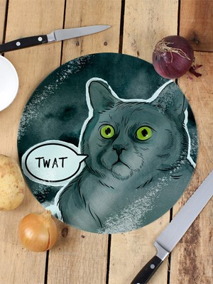 Cute But Really Abusive - Twat Glass Chopping Board
