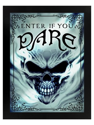 Framed Enter If You Dare Mirrored Tin Sign