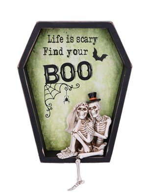 Life is Scary Find Your Boo Skeleton Bride and Groom Wall Plaque