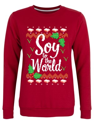 Soy To The World Ladies Red Christmas Jumper