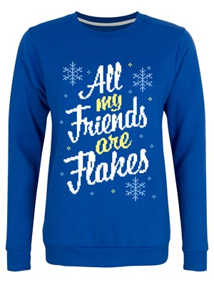All My Friends Are Flakes Ladies Royal Blue Christmas Jumper