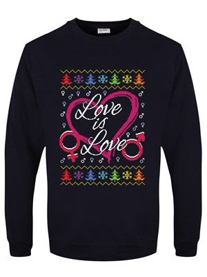 Love Is Love Men''s Navy Blue Christmas Jumper