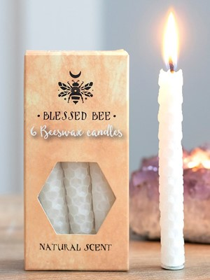 Blessed Bee White Beeswax Spell Candles - Peace & Happiness
