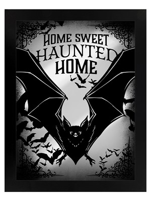 Home Sweet Haunted Home Bats Mirrored Tin Sign