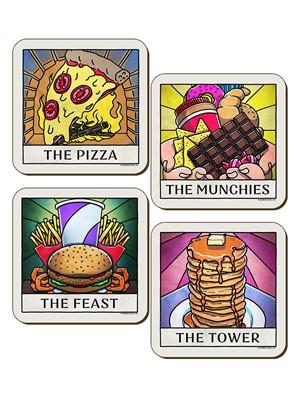 Deadly Tarot Life Pizza, Munchies, Tower & Feast 4 Piece Coaster Set
