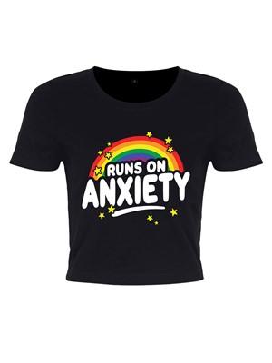 Runs On Anxiety Black Crop Top
