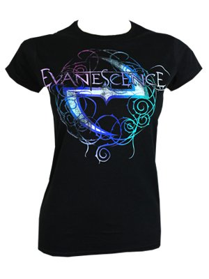 Evanescence Worn Ladies Black T Shirt Offical Band Merch
