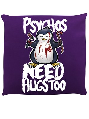 Psycho Penguin Psychos Need Hugs Too Purple Cushion
