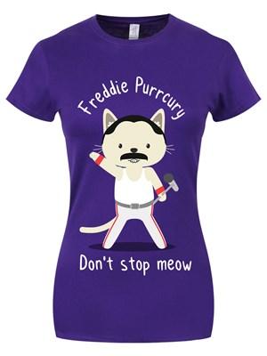 Freddie Purrcury Ladies Purple T-Shirt