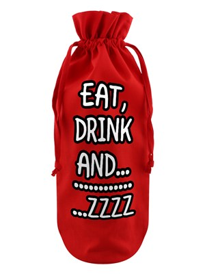 Eat, Drink And….Zzzzzz Red Cotton Drawstring Bottle Bag