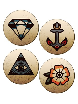 Traditional Tattoos - 4 Piece Coaster Set
