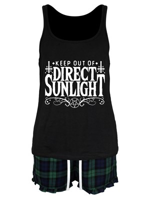 Keep Out Of Direct Sunlight Ladies Short Pyjama Set