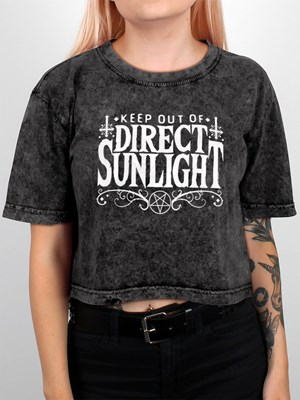 Keep Out Of Direct Sunlight Grey Acid Wash Oversized Cropped T-Shirt