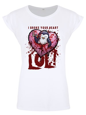 Psycho Penguin I Broke Your Heart Ladies Premium White T-Shirt