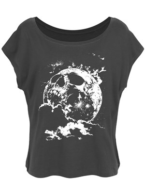 Cranial Moon Scoop Neck Oversized Ladies Anthracite Cropped T-Shirt