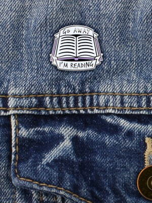 Go Away I'm Reading Enamel Pin Badge