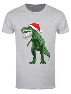 Santa Rex Men's Grey Christmas T-Shirt