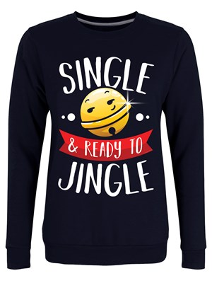 Single & Ready To Jingle Ladies Navy Blue Christmas Jumper