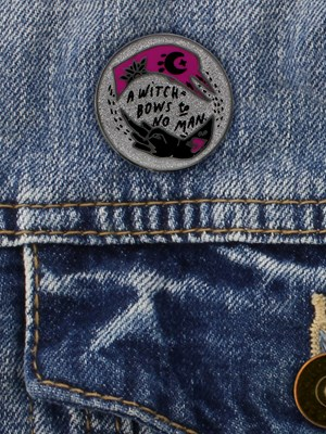 Punky Pins Witch Bows to No Man Enamel Pin Badge