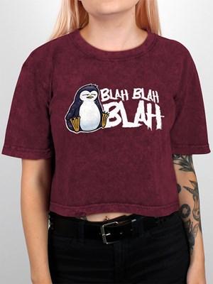 Psycho Penguin Blah Blah Blah Berry Acid Wash Crop Top