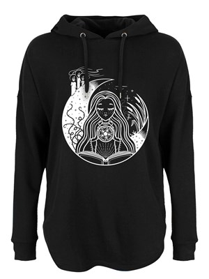 White Witch Ladies Black Oversized Hoodie