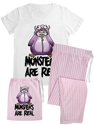 Psycho Penguin Monsters Are Real Ladies Long Candy Stripe Pyjamas In A Bag