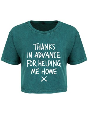 St Patrick's Day Thanks For Helping Me Home Ladies Teal Acid Wash Crop Top