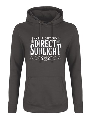 Keep Out Of Direct Sunlight Ladies Storm Grey Hoodie