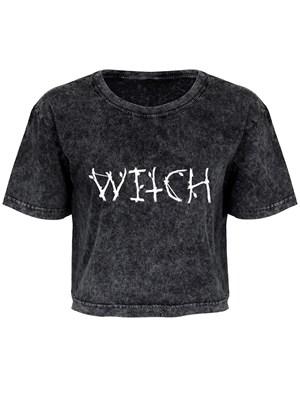 Witch Dark Grey Acid Wash Crop Top