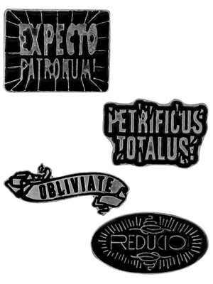 Harry Potter Spells Enamel Pin Badge Set