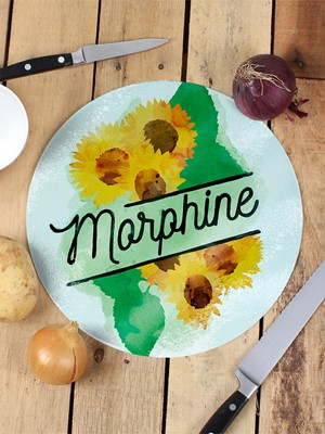 Deadly Detox Morphine Circular Glass Chopping Board