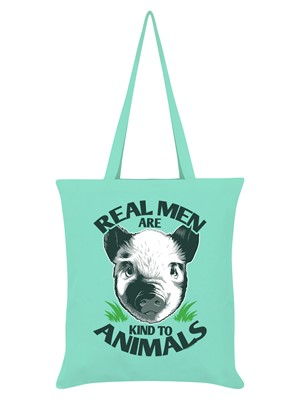 Real Men Are Kind To Animals Mint Green Tote Bag