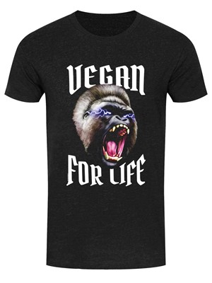 Vegan For Life Roar Men's Heather Black Denim T-Shirt