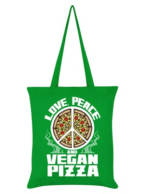 Love, Peace and Vegan Pizza Tote Bag