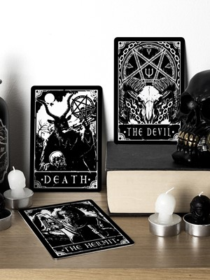 Deadly Tarot - Death, The Devil & The Hermit Small Tin Sign Set