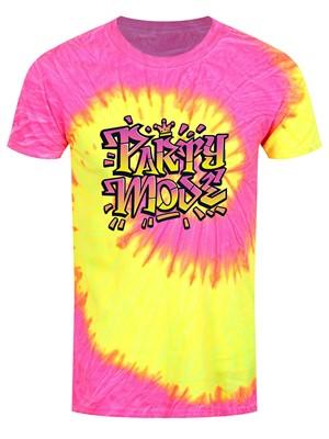Party Mode Men's Fluorescent Swirl Tie-Dye T-Shirt