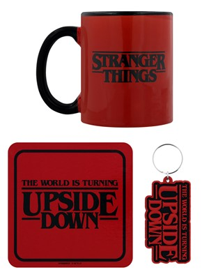 Stranger Things The World Is Turning Upside Down Mug, Coaster and Keychain Set